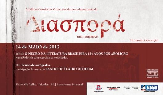 14 de maio, 18h30, Teatro Vila Velha, Salvador