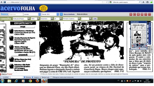 Capa da Folha de S. Paulo de 20 de novembro de 1993. Clique na imagem para ampliar e ler.