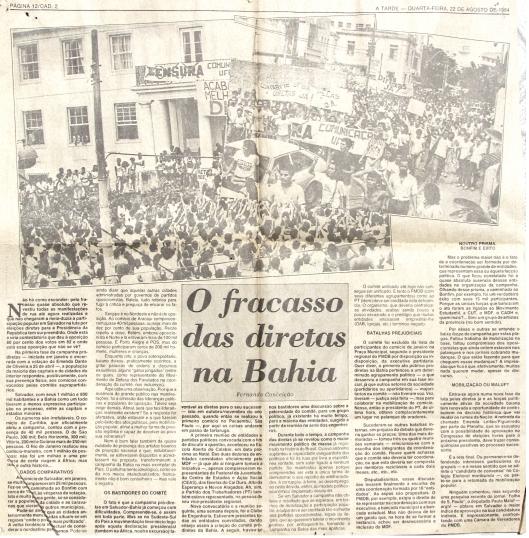 Clique na imagem para ler o artigo, assinado por este escrevinhador, sobre a luta pelo retorno das eleições diretas para a Presidência da República, publicado no jornal A Tarde em