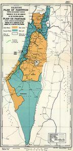 Mapa do Plano de Partilha da Palestina em novembro de 1947.