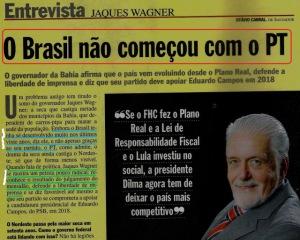 Veja é legal se abre suas cobiçadas páginas amarelas para o governador da Bahia, em maio de 2013