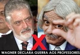 Montagem satiriza relação do governador com a categoria representada por personagem de Chico Anysio