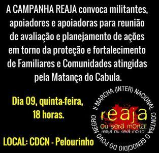 Flyer convida a sociedade para debate contra a matança da polícia petista na Bahia. Clique para saber mais