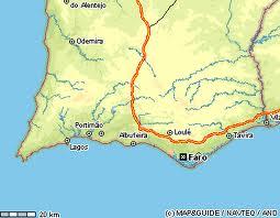 Mapa do sul de Portugal, onde situa-se Lagos