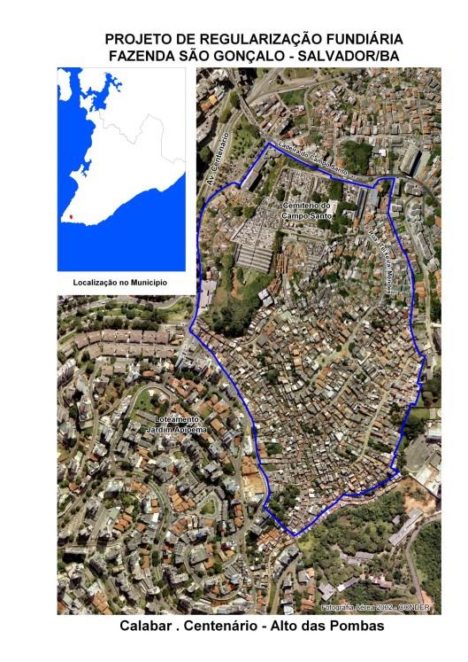 A área demarcada pela linha seria de propriedade da SCMB denominada Fazenda Sâo Gonçalo, dentro dela o cemitério do Campo Santo, o Alto das Pombas, o Calabar, a Av. Centenário...