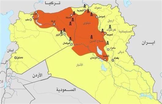 O território ocupado com as vitórias do Isis no Iraque e Syria até agora
