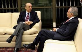 José Serra (esq.), ministro das relações exteriores do presidente interino Michel Temer (dir.)