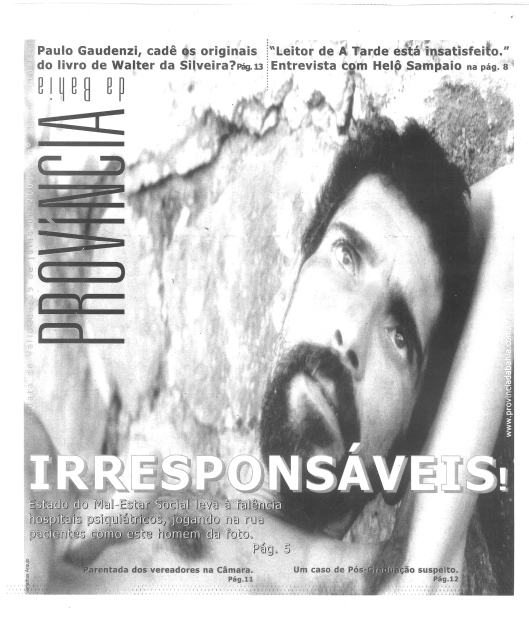 De 2003 em diante, a Província novamente inovou seu design gráfico, como nesta edição sobre a irresponsabilidade governamental no atendimento a pacientes com distúrbios mentais